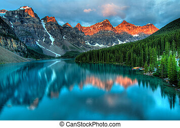 moraine 湖, 日の出, カラフルである, 風景