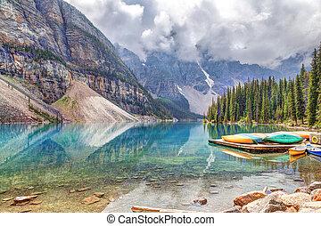 Moraine Lake at Lake Louise Near Banff in Canadian Rockies