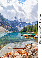 Moraine Lake at Lake Louise Near Banff in the Canadian Rockies
