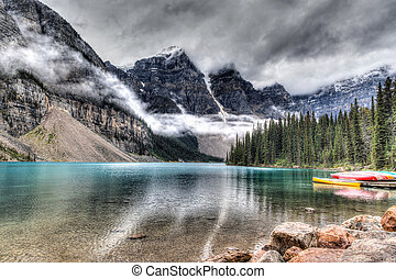 Moraine Lake on a Cloudy Day