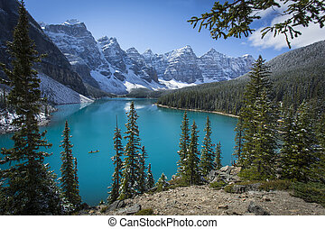 Moraine Lake with Canoe in Banff National Park