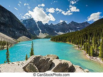 moraine tó, liget, nemzeti, banff