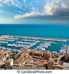 Moraira Club Nautico marina aerial view in Alicante