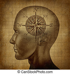Moral Compass - Moral compass and career path concept with a...