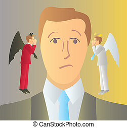 A man being coaxed by his good and bad side drawn in the classic angel, devil archetype.