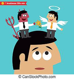 moral, escolha, ética negócio, e, tentação
