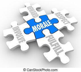 morale, パズル小片, 含みなさい, 態度, チーム, 満たしなさい, 報酬, 敬意, 精神