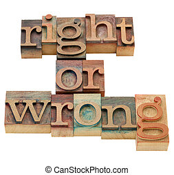 morale, torto, destra, dilemma, o