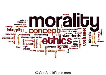 moralité, nuage, concept, mot