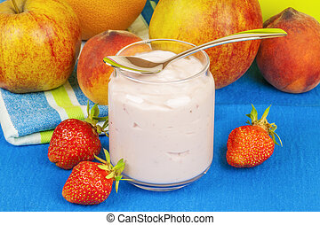 morango fresco, yogurt, com, frutas
