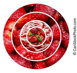 morangos, fundo, frutas