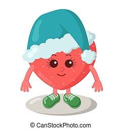 moranguinho, engraçado, sorrindo, cute, kawaii, chapéu, sneakers, natal
