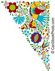 Moravian folk bird ornament (South Moravia, Czech Republic)