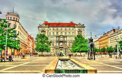 Moravske Namesti, a square in Brno, Czech Republic - ...