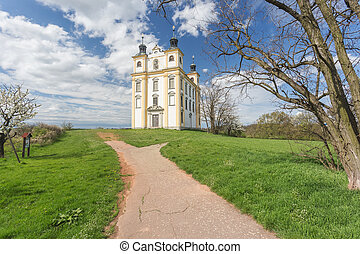Moravsky Krumlov, Chapel of St. Florian. spring landscape. ...