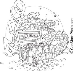 Moray and a treasure chest - Black and white vector...