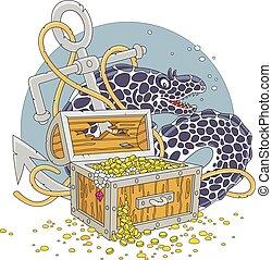 Moray and a treasure chest