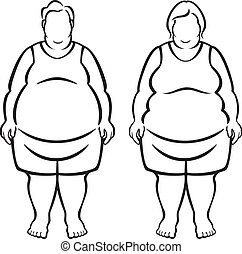 Vector Illustration of a man and woman who are morbidly obese (over 100 pounds overweight)