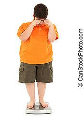 morbidly, obeso, gorda, criança, ligado, escala