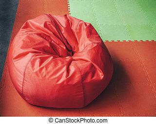 morbido, verde, rotondo, rosso, pavimentazione, borsa, sedia