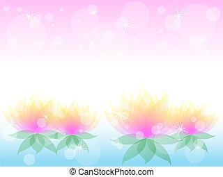 morbido, waterlily, fiore, con, rosa