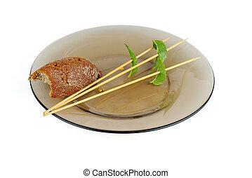 morceau, bois, verre, cliché pain, bâtons, vide