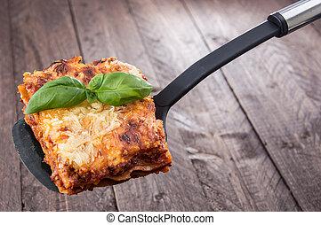 morceau, de, lasagne
