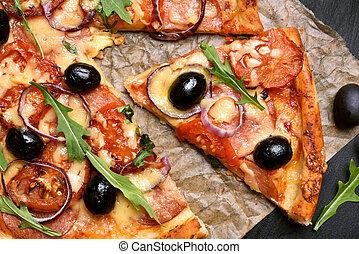 morceau, de, pizza