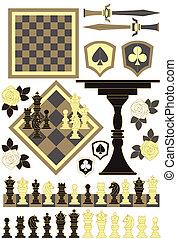 morceau, ensemble, échecs abordent