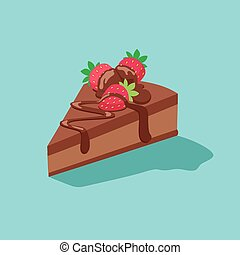 morceau gâteau chocolat, à, fraises