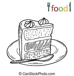 morceau gâteau, sur, a, plaque