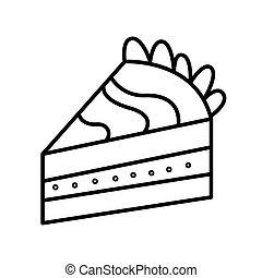 morceau gâteau, vecteur, griffonnage, main, dessiné, ligne, illustration