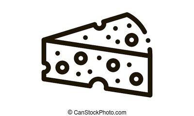 morceau, icône, animation, fromage dur