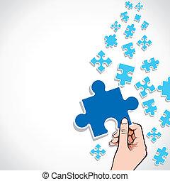 morceau, main, puzzle