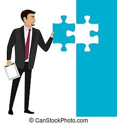 morceau, puzzle., concept, business