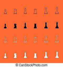 morceaux, échecs, icône