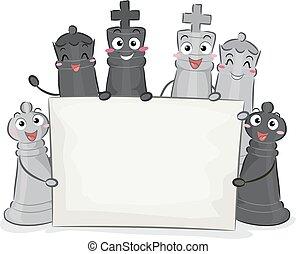 morceaux échecs, planche, illustration, mascottes