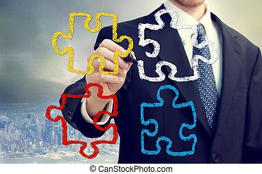 morceaux, homme affaires, puzzle