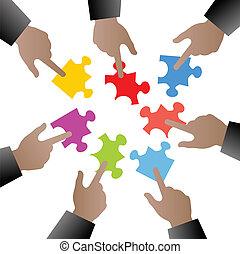 morceaux puzzle, gens, main