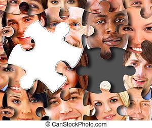 morceaux puzzle, groupe, professionnels