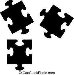 morceaux, puzzle, icônes