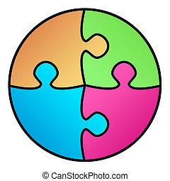 morceaux, puzzle, lien, cercle, blanc