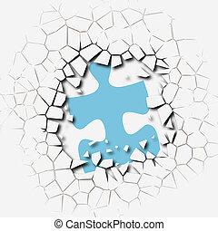 morceaux puzzle, problème, solution, coupure, percée