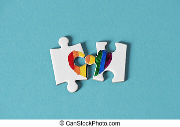 morceaux puzzle, sur, à, formulaire, a, arc-en-ciel, coeur