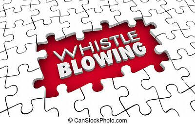 morceaux, puzzle, whistleblowing, vérité, caissier, illustration, trou, croisé, 3d