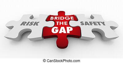 morceaux, risque, vs, puzzle, sécurité, illustration, trouée, pont, 3d