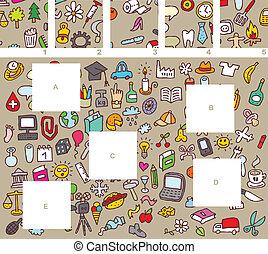 morceaux, visuel, jeu, allumette