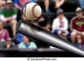 morcego, bola, fundo, bater, basebol, espectador