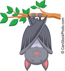 morcego, caricatura, dormir