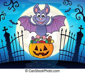 morcego, dia das bruxas, tema, imagem, 3